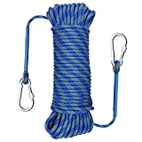 Gonex Static Climbing Rope, 8mm Safety High Strength Tree Climbing Rappelling Rope Indoor Gym Outdoor Hiking Magnet Fishing Fire Escape Rope 32ft Blue