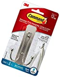 Command Large Double Bath Hook, Satin Nickel, 1-Hook, 1-Large Water-Resistant Strip, Organize Damage-Free New