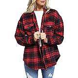 EpicLife Camisas con botones para mujer, camisa casual de manga larga, mezcla de lana con bolsillos, ropa de otoño, rosso, L