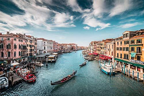 Puzzles Adultos Venecia Grand Hotel Gondola Puzzle 1000 Piezas Puzzle DIY Art Juguetes Educativos para Apto para Niños Y Adultos 70 * 50Cm