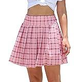 WOWENY Mujer Deportivo Corto Falda Plisada A-Line Mini Skorts de Tenis Golf con Bolsillos Interiores para Shorts,Vestido de Playa para Mujer (Falda de Cuadros -Rosa, L)