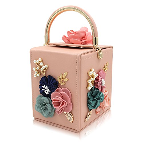 Milisente Evening Clutch Bag for Women Floral Square Box Evening Bags Crossbody Shoulder handBags Flower Wedding Clutch Purse (Light Pink)