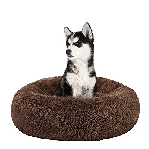 BEDELITE Dog Bed & Cat Bed 23X23 inch for Small Dog & Large Cat, Calming Cuddler The Anxiety Dog & Cat, Fluffy Cute Donut Pet Bed in Faux Fur for Indoor (Brown) - Fit up to 25 LBs, Machine Washable
