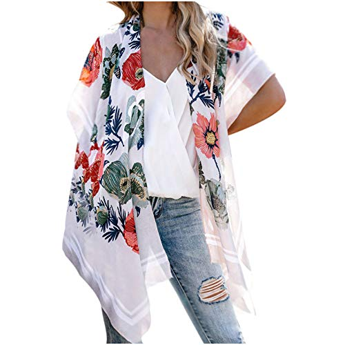 MRULIC Damen Florale Kimono Cardigan Boho Chiffon Sommerkleid Beach Cover up Leicht Tuch für die Sommermonate am Strand oder See (L, X-Grau)