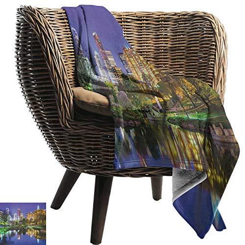 ZSUO flanel fleece deken stad, muziek notities kat met het toetsenbord op daken in nacht hemel oude stad volledige maan kunst afdrukken Multi Cozy en duurzaam Fabric-Machine wasbaar