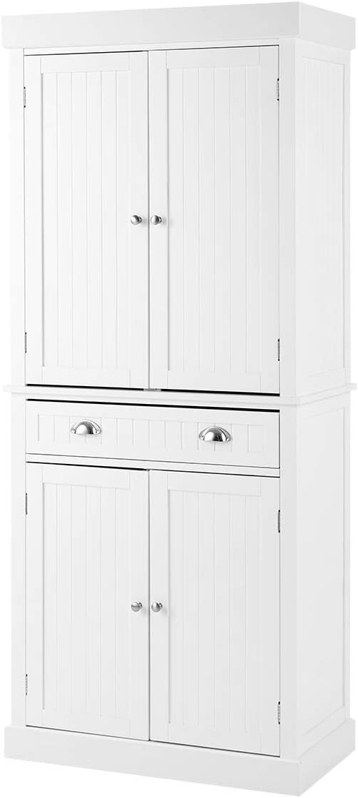 Buy Yoleny Kitchen Pantry 72 Freestanding Storage Cabinets With Doors And Shelves Elegant Colonial Design Cabinet Cupboard With 3 Adjustable Shelves And 1 Storage Drawer White Online In Turkey B08ndxqr9z