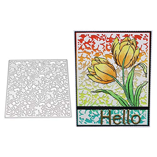 Gemini_mall Stanzschablone mit Blumen-Hintergrund, Metall, Prägeschablone, Scrapbook, Album, Dekoration, Papier und Kartenherstellung Silber