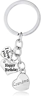 Gift for Grandma Grandmother Happy Birthday Gifts I Love Mama Keychains Key Ring Jewelry for Christmas Birthday Gifts from Granddaughter Grandson