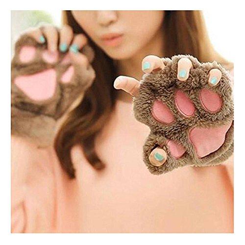 maxgoods 1 Paar Nette Fingerlose Pfote Plüsch Handschuhe, Katze Bär Paw, aus Künstlich Faux Pelz für Frauen Damen - Hellbraun