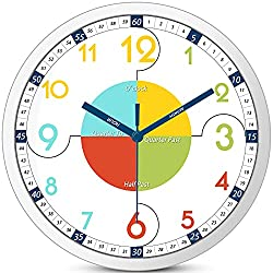 Yoobure Kids Wall Clock, 12 Inch Telling Time Teaching Classroom Clock for Kids, Perfect Bedroom Playroom Homeschool Nursery Decor Silent Battery Operated Educational Clock