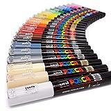 Uni Posca PC-1M Paint Art Marker Pens - Fabric Glass Metal Pen - Full Range Set of all 21 Colours