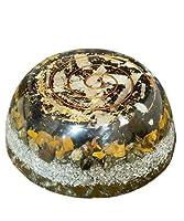 wave the stone(ウエーヴ ザ ストーン) オルゴナイト タイガーアイxブラックトルマリンxフラワーオブライフ ドーム型 金運 エネルギー ジェネレーター コースター 直径:約 85mm ヒーリング 瞑想 マインドフルネス 電磁波防止 対策 天然石 パワーストーン