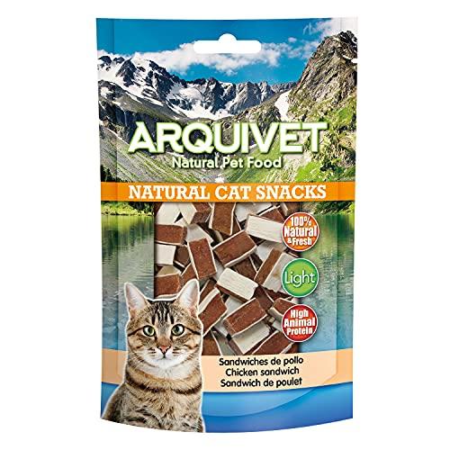 ARQUIVET Sandwiches de Pollo Pack 24 Unidades x 50 gr - Natural Cat Snacks, Snacks para Gatos 100% Naturales - Chuches, premios, golosinas y recompensas para felinos