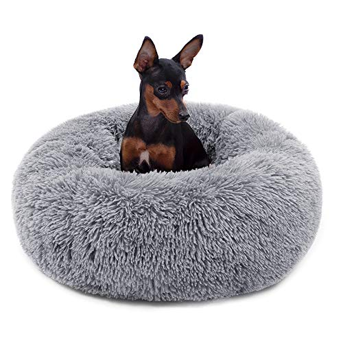 Neekor Cat Dog Beds, Soft Plush Donut Pet Bedding Winter Warm Sleeping Round Fluffy Pet Calming Bed Cuddler for Puppy Dogs/Cats, Size: Small/Medium/Large (Light Grey/Large)