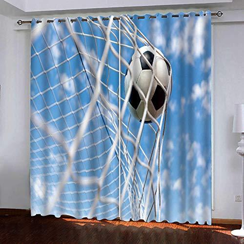 Gzclian Gardinen mit Ösen 132x160cm Vorhang Blickdicht 2er Set Modern Fensterdekoration für kinderzimmer Wohnzimmer Schlafzimmer esszimmer,Fußball