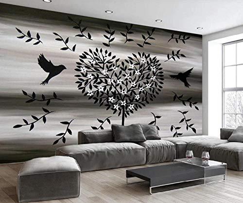 Papel Pintado Pared 3D Pájaros Y Flores De Árbol En Forma De Corazón Blanco Y Negro Retro Moderno Dormitorio Salon Decoracion murales