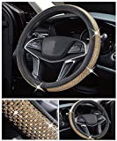 DailyWise VicPlus Bling Bling Diamond Car Steering Wheel Cover Rhinestone Covers Universal Fit 14.5 Inch / 15 Inch (37-38 cm) Car Accessories Interior Shining Decorating New Gold