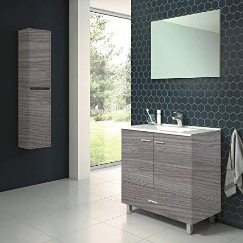 Conjunto de Mueble de baño con Patas y Lavabo de Porcelana y Espejo - 2 Puertas y 1 Cajón amortiguado - El Mueble va MONTADO - Modelo RAKI (80 cms, Estepa)