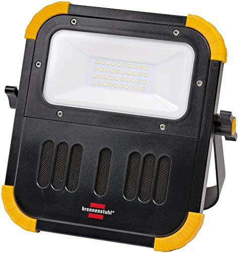 Brennenstuhl Mobiler Akku LED Baustrahler mit Bluetooth Lautsprecher (30 Watt, IP54 für außen und innen, LED Arbeitsstrahler mit integrierter Powerbank)