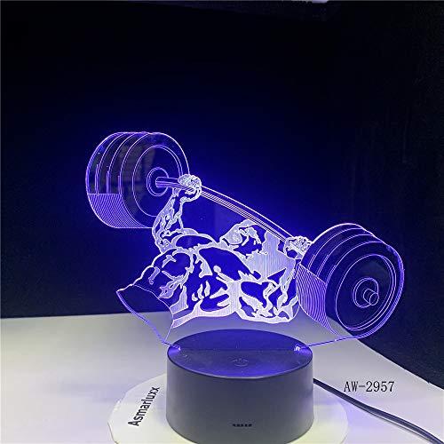 jiushixw 3D acryl nachtlampje met afstandsbediening van kleur veranderende lamp gewichtheffen heren baby pearl lamp