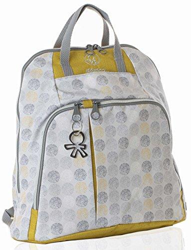 okiedog TREK 39063 eleganter Wickelrucksack,gepolsterter Rücken, weiche Tragegurte, Kinderwagenhaken, Wickelunterlage, isol. Flaschenhalter und Zubehörbeutel, DotDotDot grau gold, ca. 37 x 39 x 15 cm