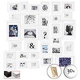 BOMOE Set de 30 Cadres Photos Emotion pour décoration Murale pour Chambre Salon Bureau Maison - Blanc - 10x 10,5x15cm / 15x 13x18cm / 5X 20x30cm