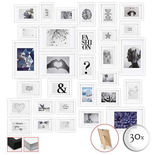 bomoe 30er Set Bilderrahmen Emotion Bilder-Collagen Fotorahmen aus Holz, Plexiglas, Metall-Aufhängung, Aufsteller & Passepartout - 10x 10,5x15cm / 15x 13x18cm / 5X 20x30cm - Weiß