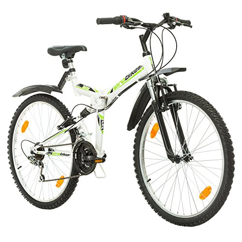 Multibrand, PROBIKE Folding FSP 26, 26 Zoll, 457mm, Klapp Mountainbike, 18-Gang, Full Suspension, Unisex, Weiß Glänzend Schwarz-Blau Rot Grau (Schwarz-Grün + Kotflügel)