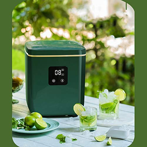 JOYGOOD Commercial Ice Machine Commercial Energy-Saving Ice Maker, Automatic Ice Crusher for Milk Tea Shop, Household Small 10-15KG Ice Cube Machine (Color : Green, Size : 272530.7cm)