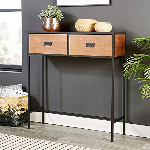 Home Source Retro Wooden Dark Brown Console Telephone Side Table, Natural, Metal Handles and Legs