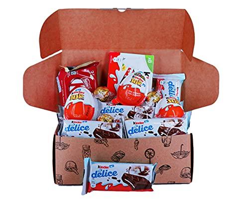 Caja regalo de bombones y chocolates - Kinder Chocolate, Kit Kat Blanco, Kinder Joy, Lindt Lindor y...