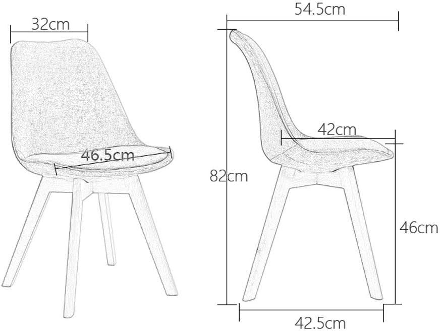 PAN Best Choice Products Chaises de Salle à Manger Modernes et Semi-Rondes avec Pieds en Bois rembourré et Tissu (Couleur : A) F
