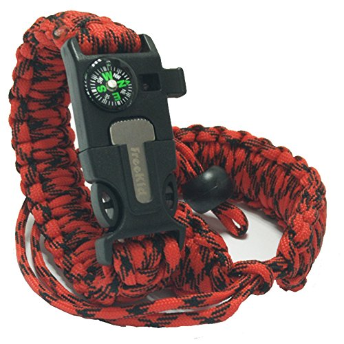 freekid Bracelet Survival Gear Kit with Embedded Compass, Fire Starter, Emergency Knife & Slim Buckle Design &Outdoor Double Layer/Wrist Strap -Hiking for Camera Cell Phone iPod/Mp3/Mp4/Psp