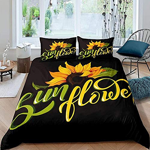 HUA JIE Bedding Sets Sunflower Comforter Cover, Yellow Floral Pattern Girls Teens Duvet Cover Boys Kids 3D Printed Decor Bedding Set Modern Simple Black Bedspread Quilt