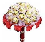 Handgebundener Pralinenstrauß 'Ferrero Rocher', Pralinen-blumen-strauß,Geschenk zum Muttertag, Geburtstag,Kommunion,Hochzeit, Blumenversand, Konfirmation & Firmung