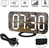 Digital Alarm Clock, 6.5' Large LED Display with Dual USB Charger Ports, Auto Dimmer Mode, Easy Snooze Function, Modern Mirror Desk Wall Clock for Bedroom Home Office - Black