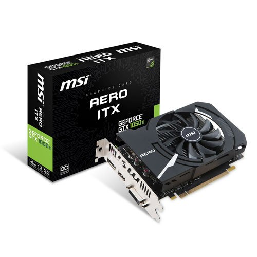 MSI NVIDIA GEFORCE GTX 1050Ti AERO ITX 4G OCV1 Graphics Card '4GB GDDR5, 1455MHz, mini ITX Design, DisplayPort, HDMI, DVI-D, Single Fan Cooling System'