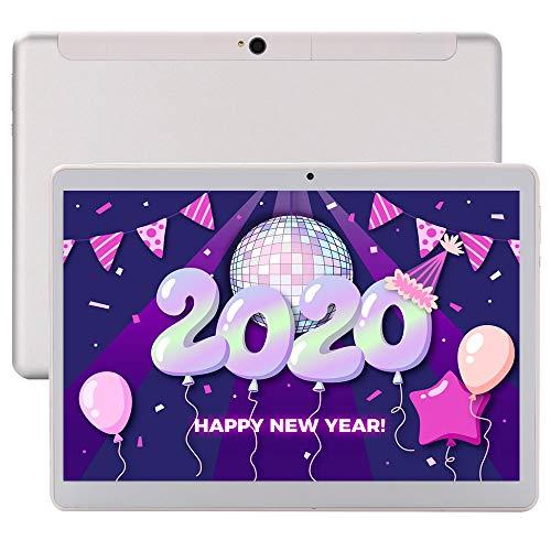 Tablet 10 Zoll 4G Lte Phablet Unlocked Android 9.0 Deca-Core 6GB RAM 64GB ROM 1920x1200 IPS Dual Cameras Dual SIM Card Wifi OTG Bluetooth GPS Tablets Google(Silver)