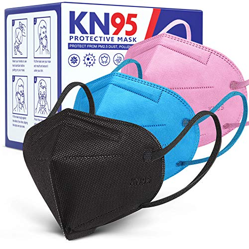 30 PCS KN95 Face Mask Approved, Individually Wrapped Face Mask 5 Layer Design Breathable KN95 Face Mask for Women Men Adults,Anti Dust Pollen Mascarillas KN95 Face Mask Black Blue Pink by AnanBros