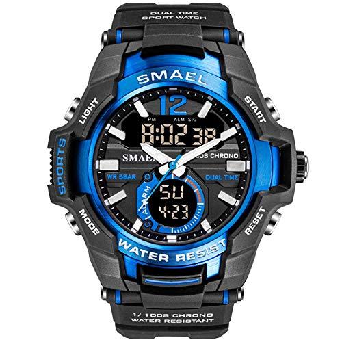 SMAEL Relojes Deportivos para Hombre, Resistente al Agua Digital Militares Relojes con Cuenta atrás para los Hombres niños Grandes,LED de analógico Relojes de Pulsera para Hombre,Azul