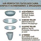 Essgeschirr 4 Personen Set - 16-teiliges Geschirrset im Trendy Rustikalen Design in Blau - Spülmaschinenfestes Porzellan Schüssel- und Tellerset - Tafelservice 4 Personen Modern von Pure Living - 4