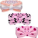 3 Pieces Microfiber Bowtie Headbands Bowknot Elastic Hair Band Adjustable Makeup Headbands Wash Spa Yoga Sports Shower Facial Hair Band for Girls Women (Chic Patterns)