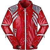 Unisex Thriller Beat it Rojo Chaquetas of Michael Jackson Abrigo Disfraz de Cosplay (Enviar Guantes) (M W: 62-67kg H:170-175cm, Rojo 2)