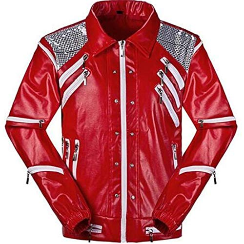 Shuanghao Hallowenn Cosplay Jacken of Michael Jackson Cosplay Custome Thriller Beat it Halloween Party Coat for Michael Jackson(Handschuh geben) (XL, Beat)