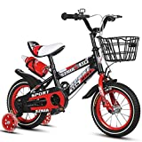 LKAIBIN Bicicleta de campo para niños de 16 pulgadas para niños y niñas de 4 a 7 años de edad, marco de acero de alto carbono, naranja/azul/rojo bicicleta para niños (color: rojo)