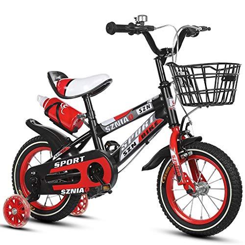 LKAIBIN Bicicleta de campo para niños de 18 pulgadas para niños y mujeres de 6 a 9 años de edad, marco de acero de alto carbono, naranja/azul/rojo bicicleta para niños (color: rojo)