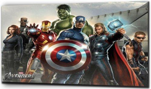 """Plush Prints - Cuadro sobre lienzo con personajes de Marvel: Los Vengadores, ver imagen, 12"""" x16"""""""