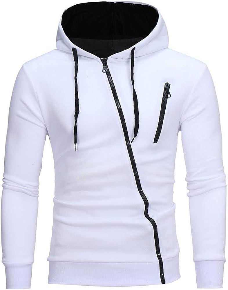 F_Gotal Autumn Winter Mens' Long Sleeve Hoodie Hooded Sweatshirt Tops Jacket Coat Outwear with Side Zipper