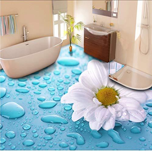 Hwhz Custom Floor Wallpaper 3D Stereoscopic Drops Flower Vinyl Floor Tiles Wallpaper Impermeable Para Baño Hd Floor Mural Sticker-250X175Cm