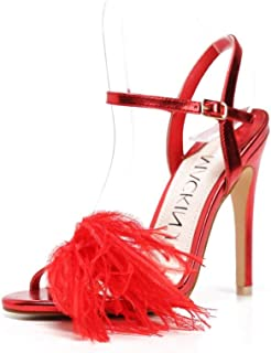 213-49 Women's Open Toe Sandals Stiletto High Heel Strappy Buckle Shoes with Feather